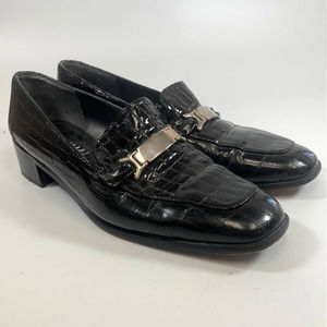 Stuart Weitzman Womens Loafers Size 10 Black Croc Embossed Leather Silver Buckle